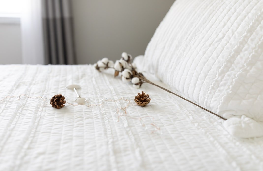 Winter white bedding