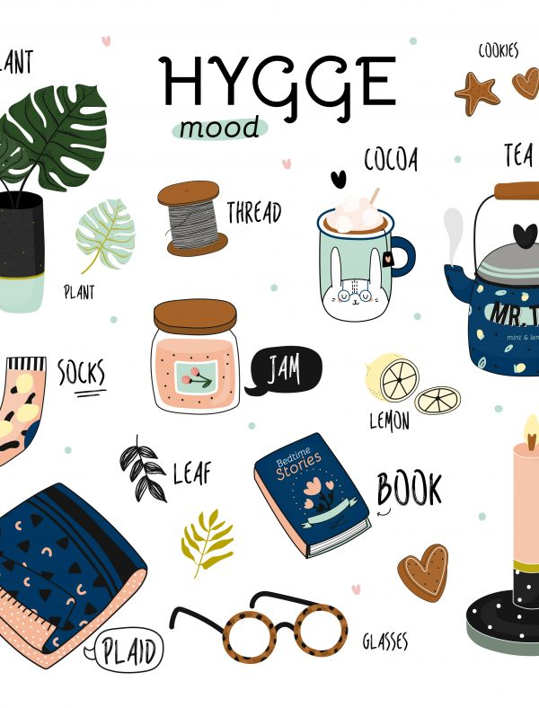 Cute vector illustration of autumn and winter hygge elements
